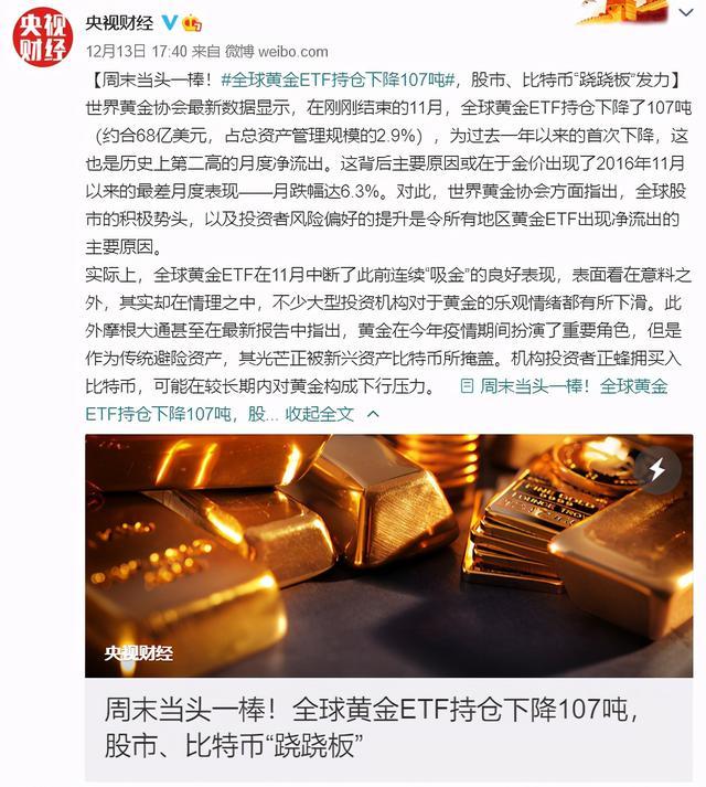 全球黄金ETF一年来首次下降,是由于比特币的竞争导致?